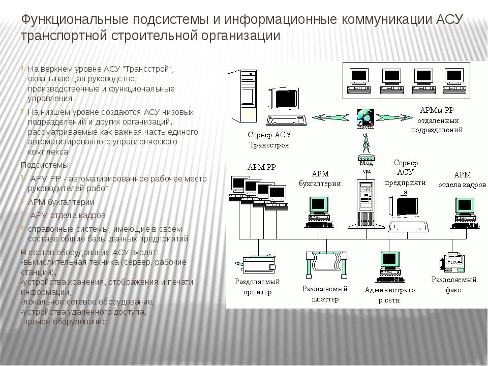 Функциональные подсистемы и информационные коммуникации АСУ транспортной стро...
