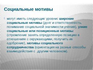 Социальные мотивы могут иметь следующие уровни: широкие социальные мотивы (до