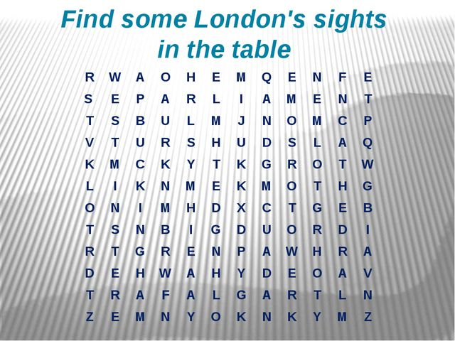 Find some London's sights in the table R W A O H E M Q E N F E S E P A R L I...