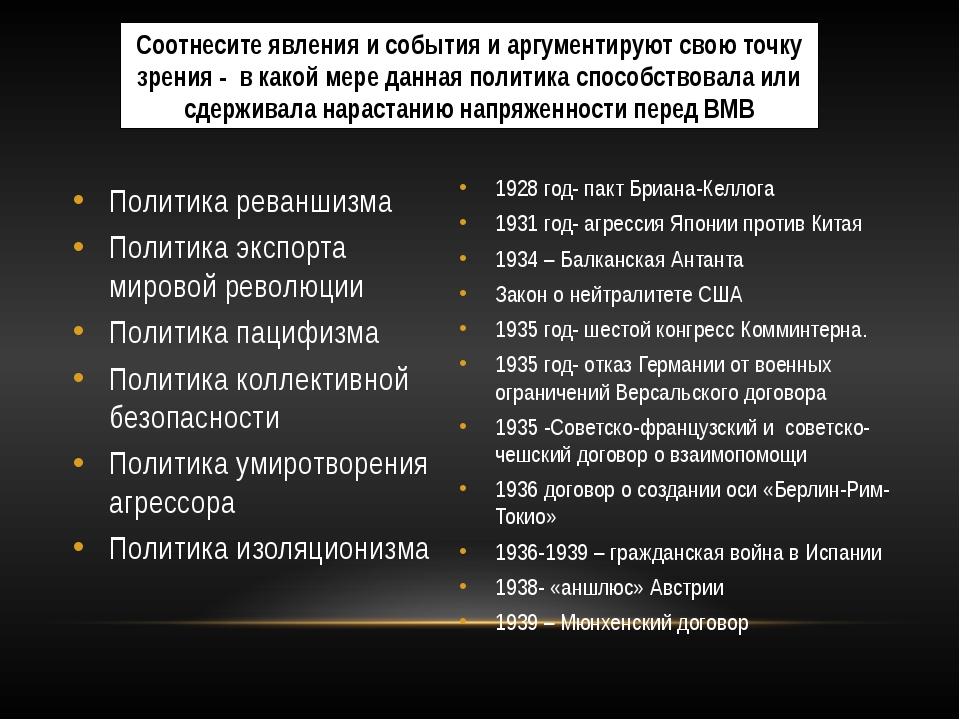 Политика реваншизма Политика экспорта мировой революции Политика пацифизма По...