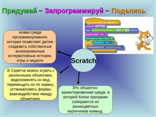 Придумай – Запрограммируй – Поделись Scratch новая среда программирования, ко