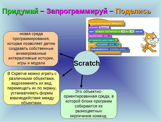 Придумай – Запрограммируй – Поделись Scratch новая среда программирования, ко...