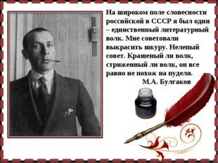 На широком поле словесности российской в СССР я был один – единственный литер
