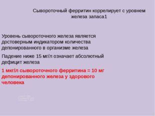 Сывороточный ферритин коррелирует с уровнем железа запаса1 Уровень сывороточ