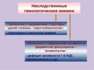 Наследственные гемолитические анемии Связанные с нарушением структуры цепей г