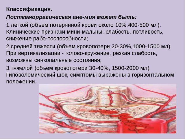 Классификация. Постгеморрагическая анемия может быть: 1.легкой (объем потеря...