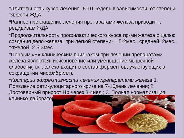 *Длительность курса лечения- 6-10 недель в зависимости от степени тяжести ЖДА...