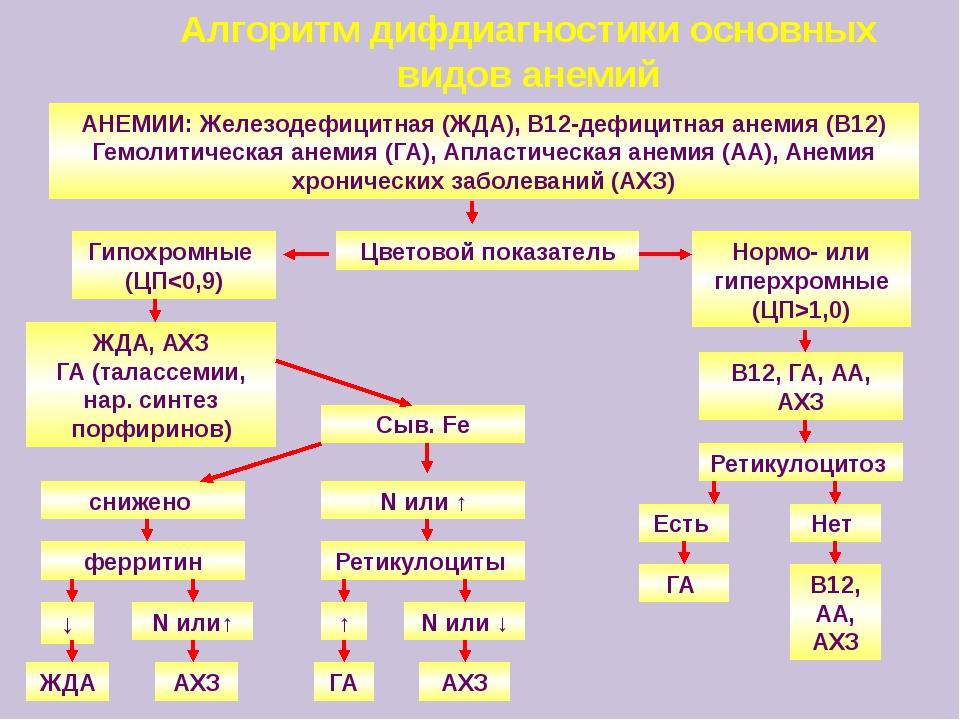 Алгоритм дифдиагностики основных видов анемий АНЕМИИ: Железодефицитная (ЖДА),...