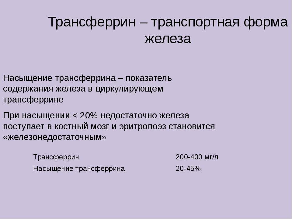 Трансферрин – транспортная форма железа Насыщение трансферрина – показатель с...