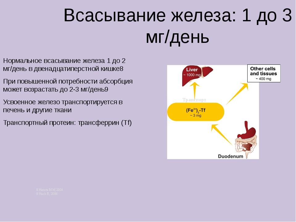Всасывание железа: 1 до 3 мг/день Нормальное всасывание железа 1 до 2 мг/ден...