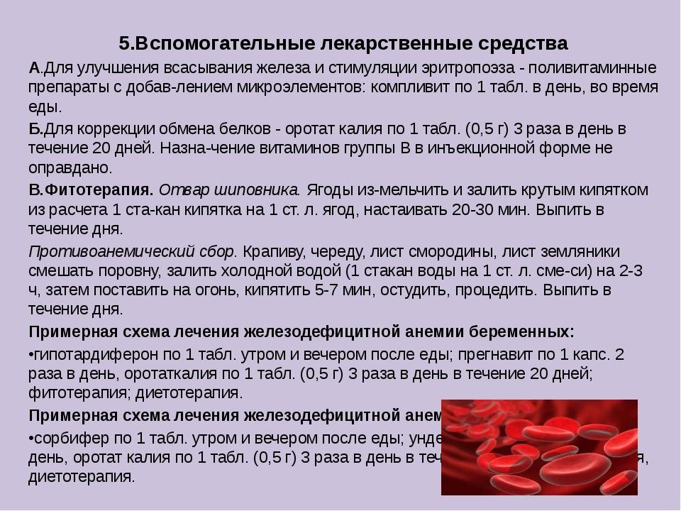 5.Вспомогательные лекарственные средства А.Для улучшения всасывания железа и...