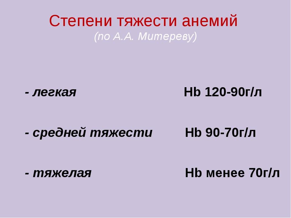 Степени тяжести анемий (по А.А. Митереву) - легкая Hb 120-90г/л - средней тяж...