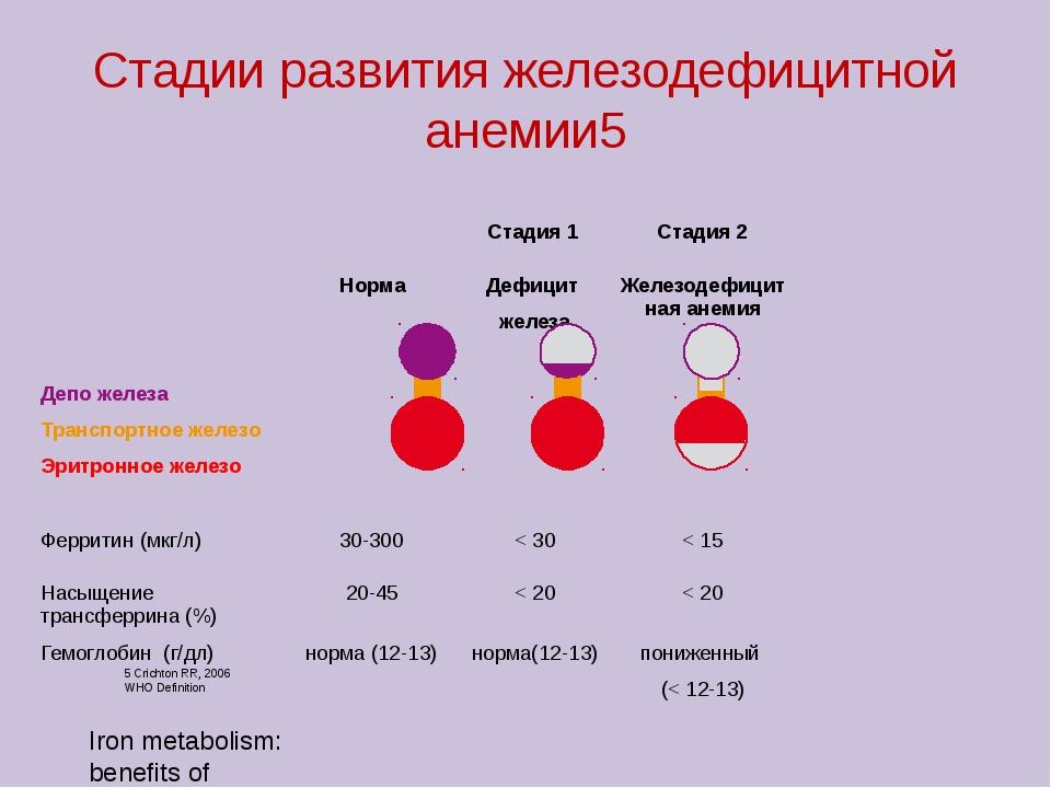 Iron metabolism: benefits of intravenous iron therapy Стадии развития железод...