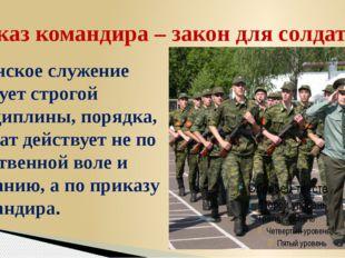 Воинское служение требует строгой дисциплины, порядка, солдат действует не по