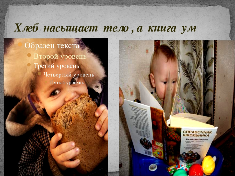 Хлеб насыщает тело , а книга ум
