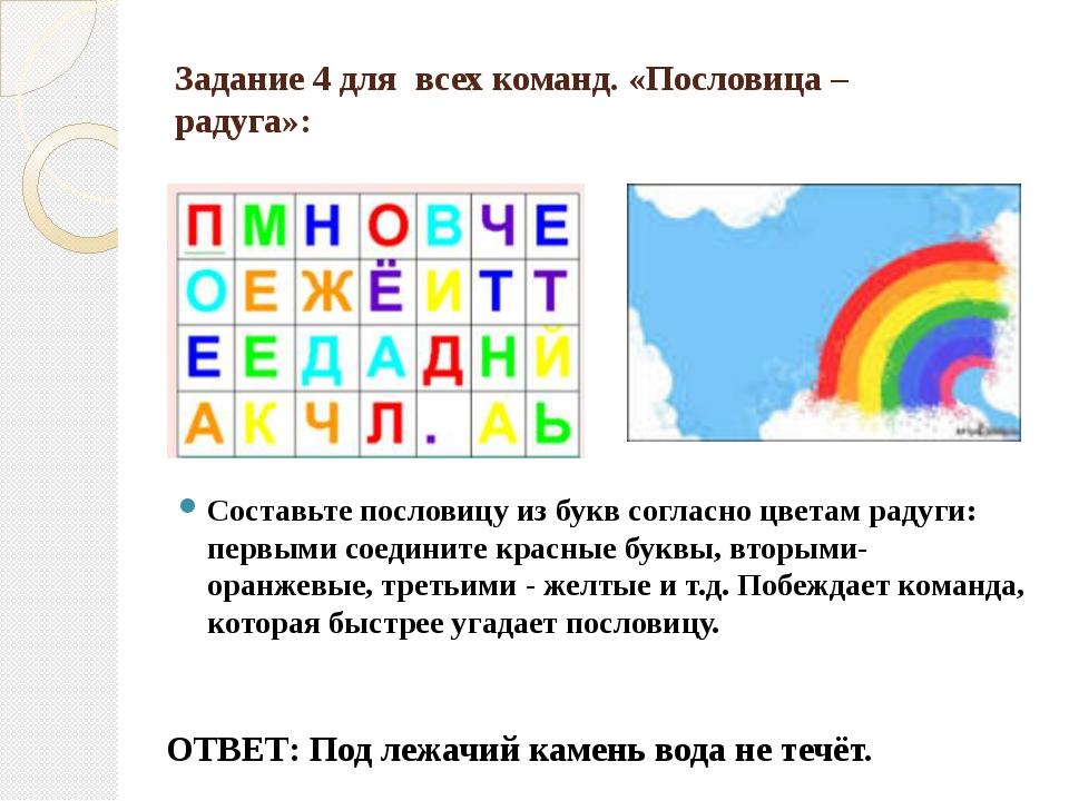 Задание 4 для  всех команд. «Пословица – радуга»: Составьте пословицу из бук...