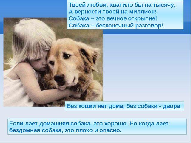 Без кошки нет дома, без собаки - двора. Если лает домашняя собака, это хорошо...