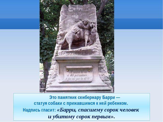 Это памятник сенбернару Барри — статуя собаки с прижавшимся к ней ребенком....