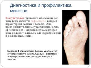 Диагностика и профилактика микозов Возбудителями грибкового заболевания ног ч