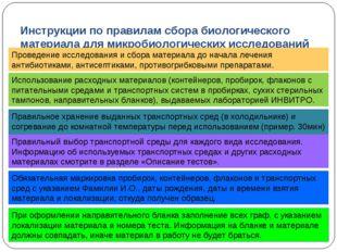Инструкции по правилам сбора биологического материала для микробиологических
