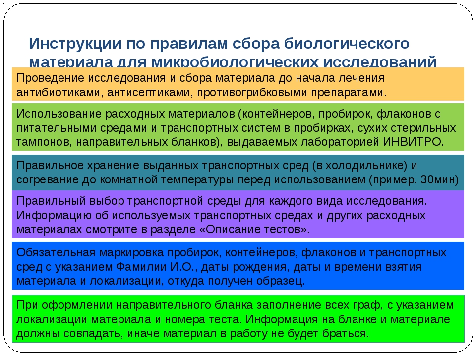 Инструкции по правилам сбора биологического материала для микробиологических...