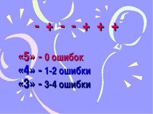 - + - - + + + «5» - 0 ошибок «4» - 1-2 ошибки «3» - 3-4 ошибки