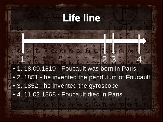 1. 18.09.1819 - Foucault was born in Paris 2. 1851 - he inventedthe pendulum...