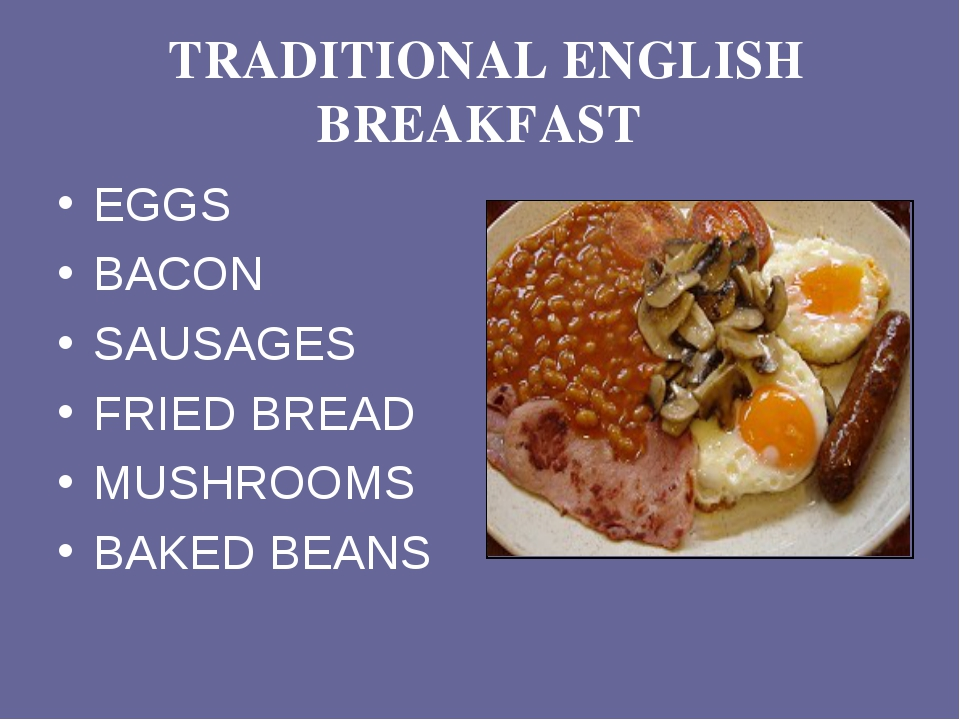 TRADITIONAL ENGLISH BREAKFAST EGGS BACON SAUSAGES FRIED BREAD MUSHROOMS BAKE...