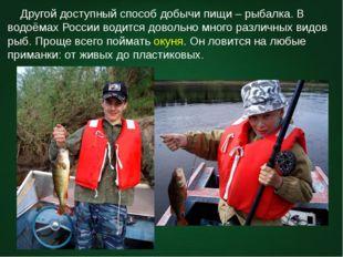 Другой доступный способ добычи пищи – рыбалка. В водоёмах России водится дов