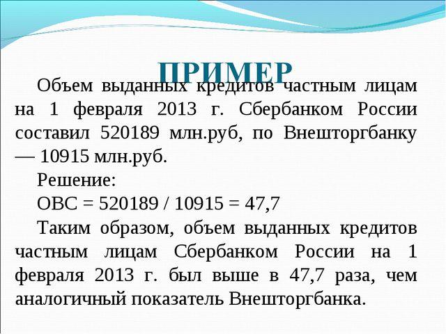 Объем выданных кредитов частным лицам на 1 февраля 2013 г. Сбербанком России...