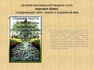Центром вертикальной модели стало мировое древо, соединяющее небо, землю и по