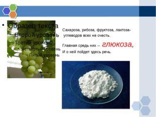 Сахароза, рибоза, фруктоза, лактоза-  углеводов всех не счесть.  Главная ср