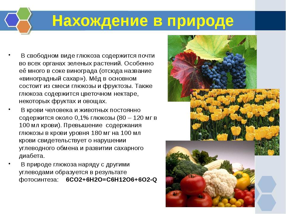 Нахождение в природе  В свободном виде глюкоза содержится почти во всех орга...