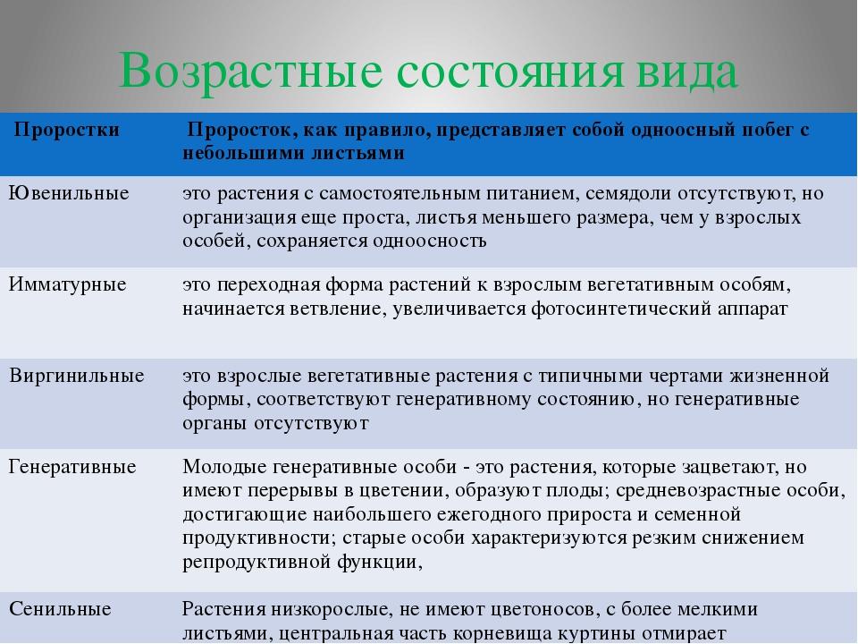 Возрастные состояния вида Проростки Проросток, как правило, представляет собо...