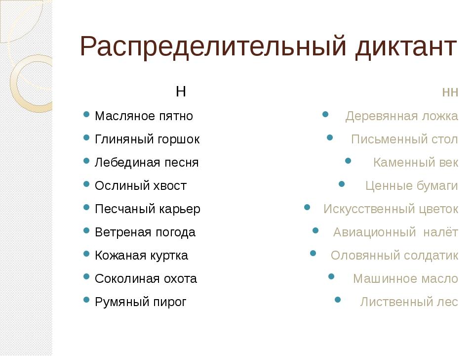 Распределительный диктант Н Масляное пятно Глиняный горшок Лебединая песня Ос...