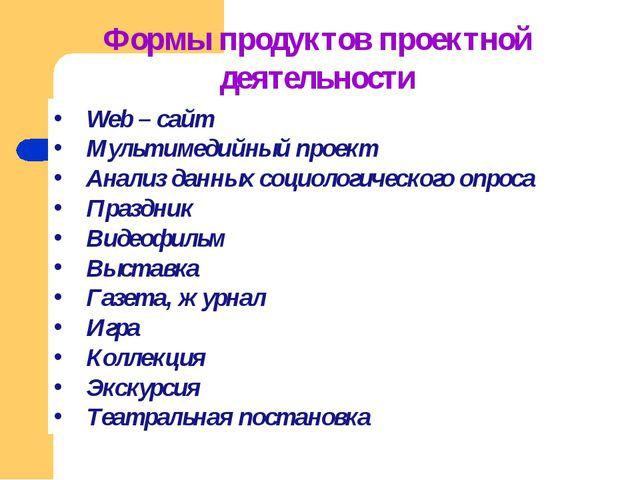 Формы продуктов проектной деятельности Web – сайт Мультимедийный проект Анали...