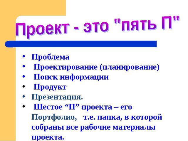Проблема Проектирование (планирование) Поиск информации Продукт Презентация....