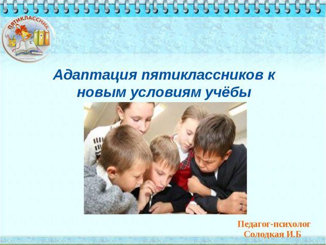Адаптация пятиклассников к новым условиям учёбы Педагог-психолог Солодкая И.Б