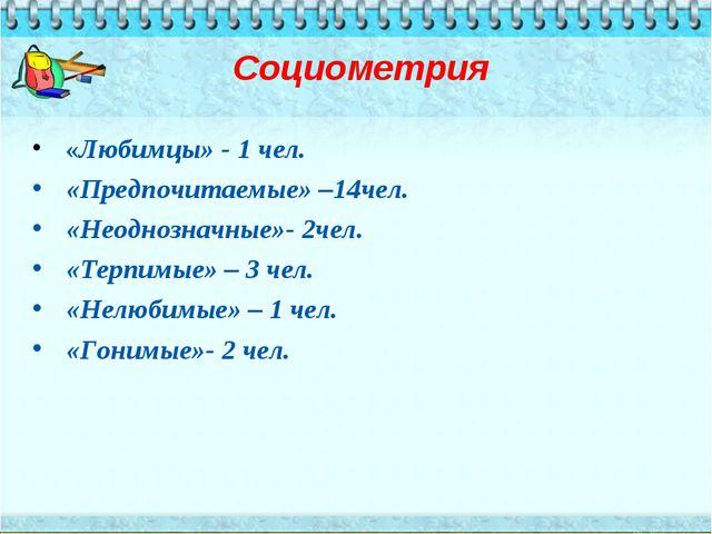 Социометрия «Любимцы» - 1 чел. «Предпочитаемые» –14чел. «Неоднозначные»- 2че...