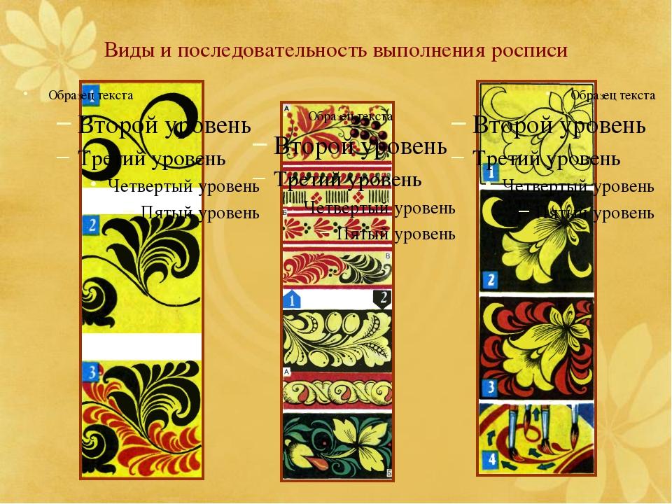 Виды и последовательность выполнения росписи