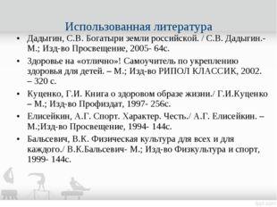 Дадыгин, С.В. Богатыри земли российской. / С.В. Дадыгин.- М.; Изд-во Просвещ