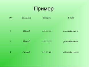 Пример №ФамилияТелефонE-mail 2Иванов 222-22-22 ivanov@server.ru 3 Петр