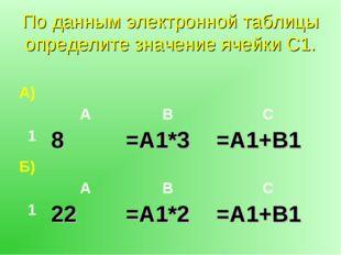 По данным электронной таблицы определите значение ячейки С1. А) АВС 18=