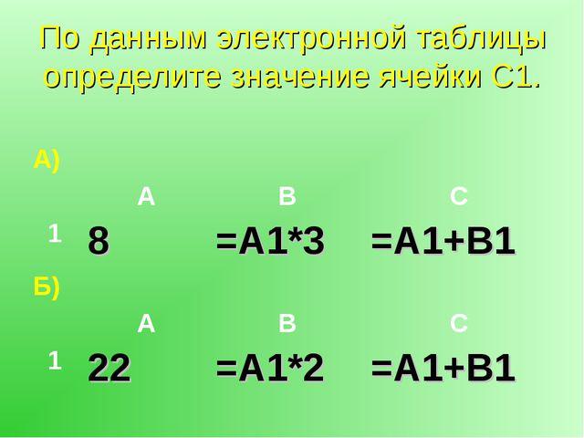 По данным электронной таблицы определите значение ячейки С1. А) АВС 18=...