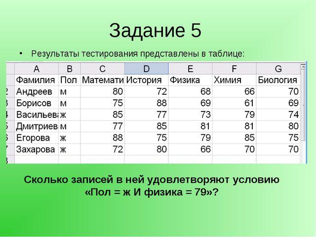 Задание 5 Результаты тестирования представлены в таблице: Сколько записей в н...