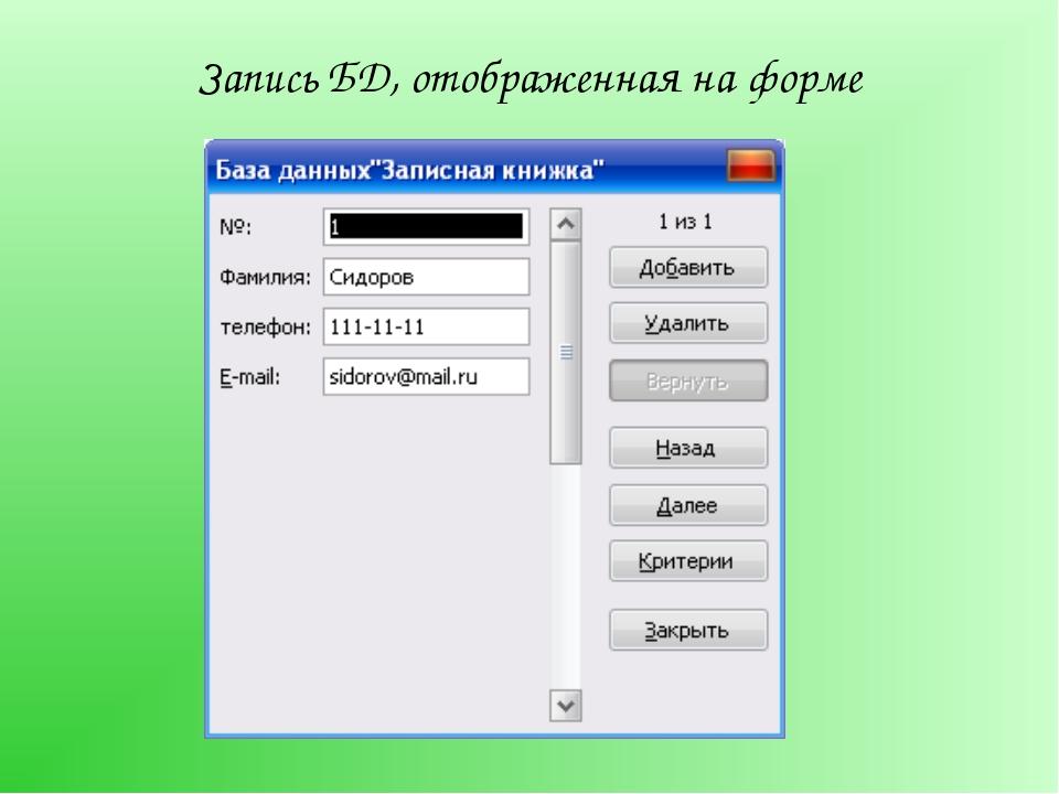 Запись БД, отображенная на форме