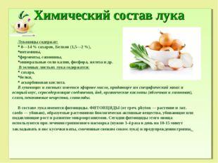 Химический состав лука Луковицы содержат: 8—14 % сахаров, Белков (1,5—2 %), в