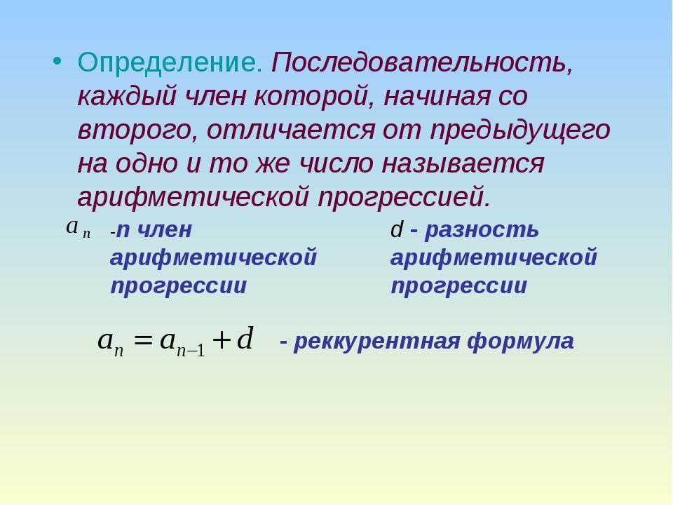 Определение. Последовательность, каждый член которой, начиная со второго, отл...