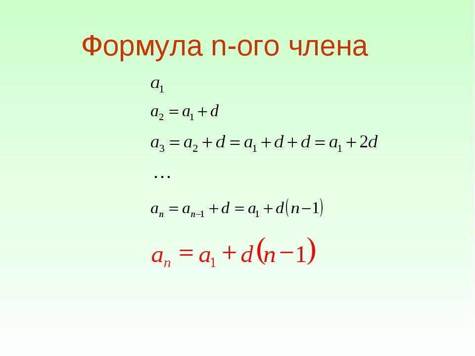 Формула n-ого члена …