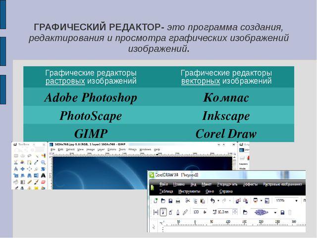 ГРАФИЧЕСКИЙ РЕДАКТОР- это программа создания, редактирования и просмотра граф...